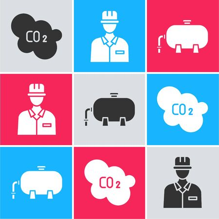 Set CO2 emissions in cloud, Oilman and Oil industrial factory building icon. Vector.