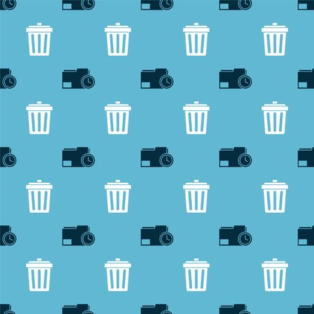 Set Document folder with clock and Trash can on seamless pattern. Vector.
