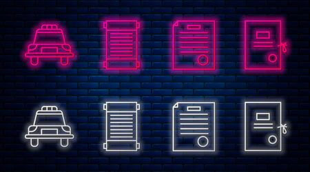 Set line Decree, paper, parchment, scroll, The arrest warrant, Police car and flasher and Lawsuit paper. Glowing neon icon on brick wall. Vector.