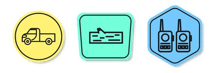 Set line Pickup truck, Wooden log and Walkie talkie. Colored shapes. Vector.