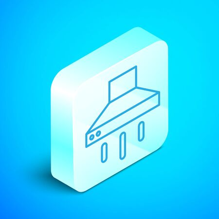 Isometric line Kitchen extractor fan icon isolated on blue background. Cooker hood. Kitchen exhaust. Household appliance. Silver square button. Vector. Ilustração