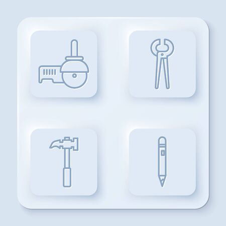 Set line Angle grinder, Pincers and pliers, Claw hammer and Pencil with eraser. White square button. Vector.
