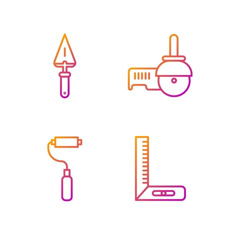 Set line Corner ruler, Paint roller brush, Trowel and Angle grinder. Gradient color icons. Vector.