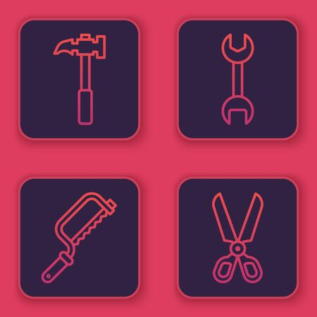 Set line Claw hammer, Hacksaw, Wrench spanner and Scissors. Blue square button. Vector.