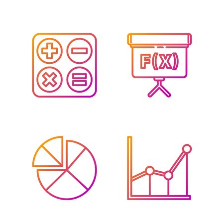 Set line Sigma symbol, Abacus, Square root and Geometric figure Cube. Gradient color icons. Vector.