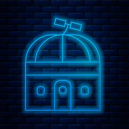 Glowing neon line Astronomical observatory icon isolated on brick wall background. Observatory with a telescope. Scientific institution. Vector Illustration.