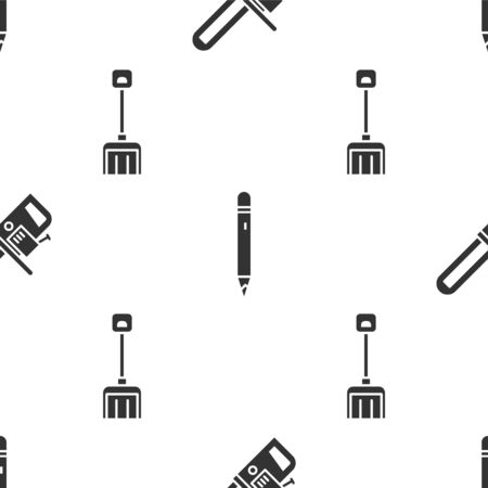 Set Chainsaw, Pencil with eraser and Snow shovel on seamless pattern. Vector.