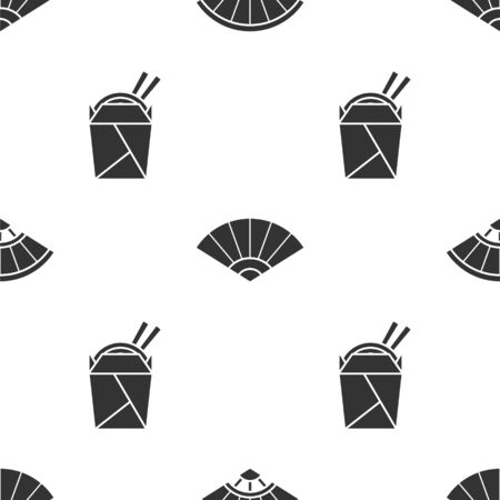 Set Paper chinese or japanese folding fan, Paper chinese or japanese folding fan and Asian noodles in paper box and chopsticks on seamless pattern. Vector.
