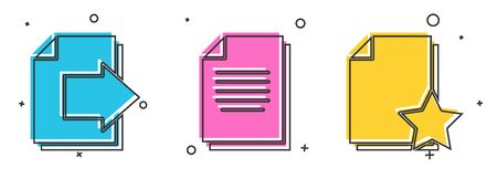 Set Next page arrow, Document and Document with star icon. Vector.