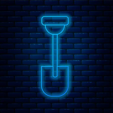 Glowing neon line Shovel icon isolated on brick wall background. Gardening tool. Tool for horticulture, agriculture, farming. Vector.