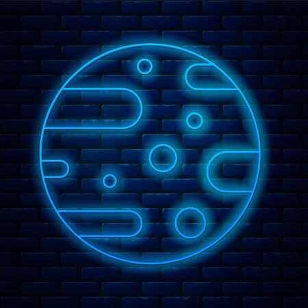 Glowing neon line Satellite dish icon isolated on brick wall background. Radio antenna, astronomy and space research. Vector Illustration.