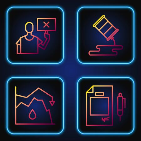 Set line Contract money and pen, Drop in crude oil price, Nature saving protest and Barrel oil leak. Gradient color icons. Vector. Illustration