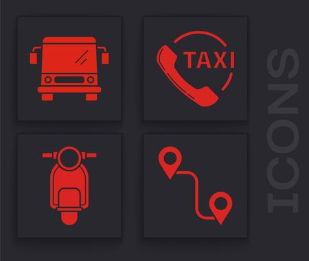 Set Route location, Bus, Taxi call telephone service and Scooter icon. Vector.