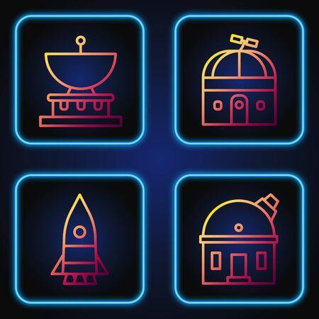 Set line Astronomical observatory, Rocket ship, Planet Saturn and Astronomical observatory. Gradient color icons. Vector. Stock Illustratie