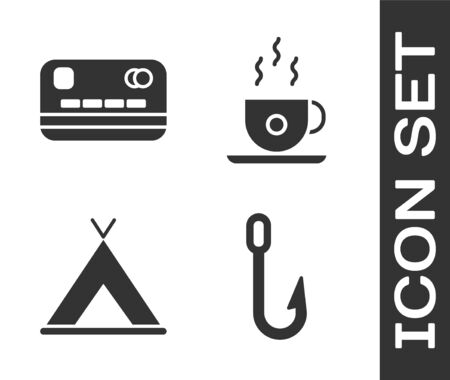 Set Fishing hook, Credit card, Tourist tent and Coffee cup icon. Vector.