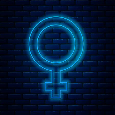 Glowing neon line Female gender symbol icon isolated on brick wall background. Venus symbol. The symbol for a female organism or woman. Vector. Ilustração