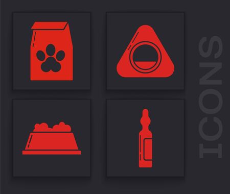 Set Pets vial medical, Bag of food for pet, Pet bed and Pet food bowl icon. Vector.