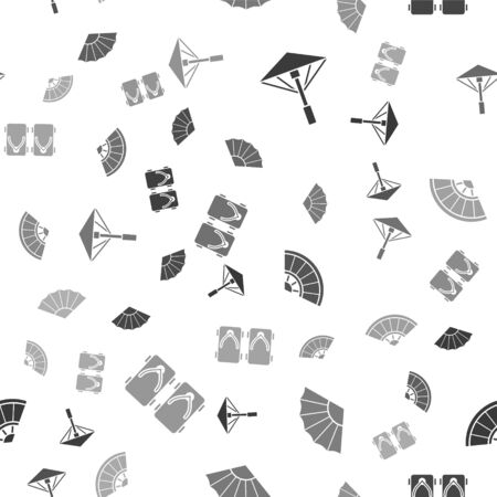 Set Japanese umbrella from the sun, Paper chinese or japanese folding fan, Paper chinese or japanese folding fan and Geta traditional Japanese shoes on seamless pattern. Vector. Stock Illustratie