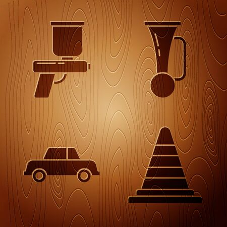 Set Traffic cone, Paint spray gun, Car and Signal horn on vehicle on wooden background. Vector.