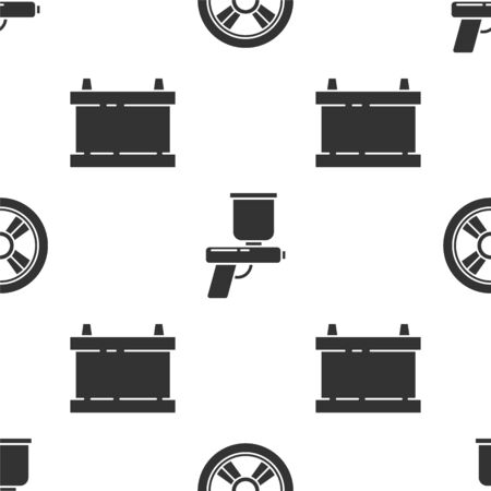 Set Car wheel, Paint spray gun and Car battery on seamless pattern. Vector. Illustration