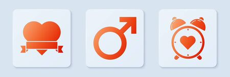 Set Male gender symbol, Heart and ribbon and Heart in the center alarm clock. White square button. Vector.