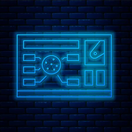 Glowing neon line Futuristic hud interface icon isolated on brick wall background. Hologram ui infographic, interactive globe and cyber sky fi screen. Vector Illustration.