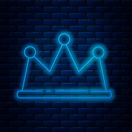 Glowing neon line Crown icon isolated on brick wall background. Vector Illustration. Vectores