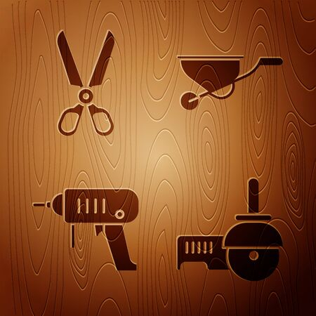 Set Angle grinder, Scissors, Electric drill machine and Wheelbarrow on wooden background. Vector.