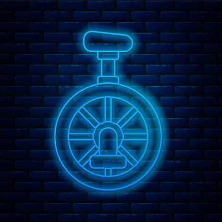 Glowing neon line Unicycle or one wheel bicycle icon isolated on brick wall background. Monowheel bicycle. Vector Illustration. Vectores