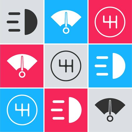 Set High beam, Speedometer and Gear shifter icon. Vector.