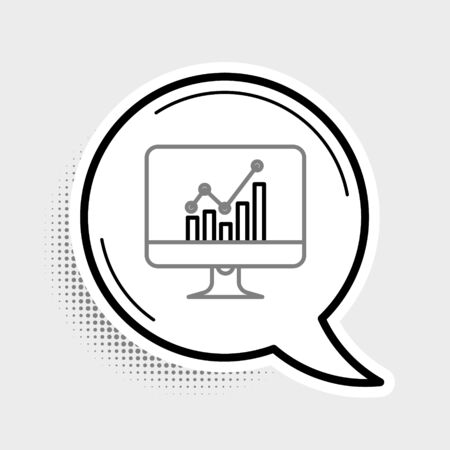 Line Computer monitor with graph chart icon isolated on grey background. Report text file icon. Accounting sign. Audit, analysis, planning. Colorful outline concept. Vector.