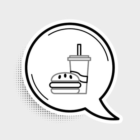 Line Paper glass with drinking straw and burger icon isolated on grey background. Soda aqua drink sign. Hamburger, cheeseburger sandwich. Colorful outline concept. Vector. Illustration