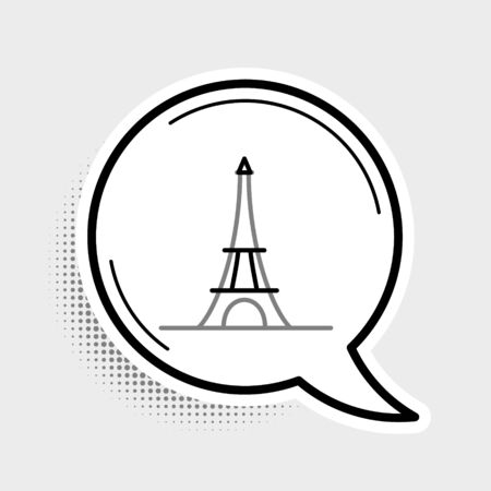 Line Eiffel tower icon isolated on grey background. France Paris landmark symbol. Colorful outline concept. Vector.