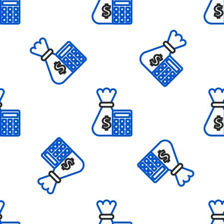 Line Calculator with money bag icon isolated seamless pattern on white background. Accounting sign. Calculate finance symbol. Colorful outline concept. Vector.