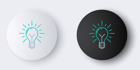 Line Light bulb with rays shine and concept of idea icon isolated on grey background. Energy and idea symbol. Inspiration concept. Colorful outline concept. Vector.