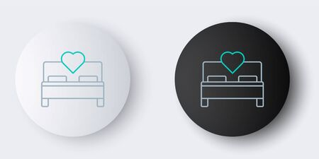 Line Bedroom icon isolated on grey background. Wedding, love, marriage symbol. Bedroom creative icon from honeymoon collection. Colorful outline concept. Vector.