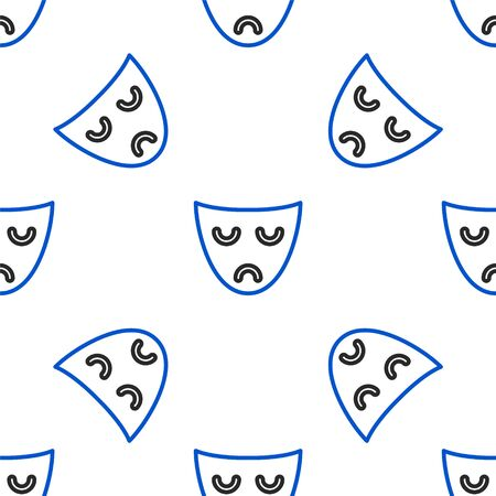 Line Drama theatrical mask icon isolated seamless pattern on white background. Colorful outline concept. Vector.