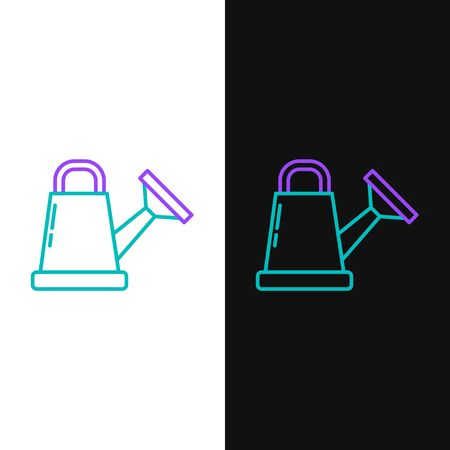 Line Watering can icon isolated on white and black background. Irrigation symbol. Colorful outline concept. Vector.