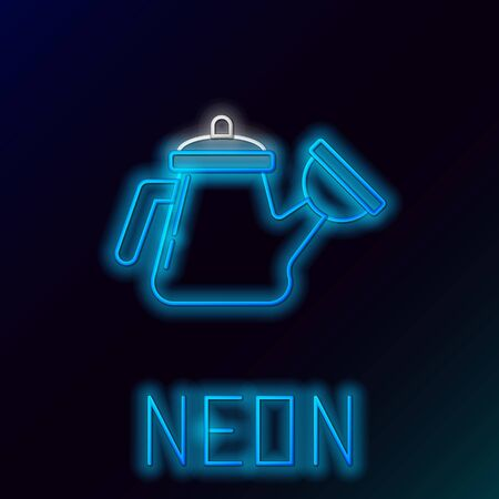 Glowing neon line Watering can icon isolated on black background. Irrigation symbol. Colorful outline concept. Vector.