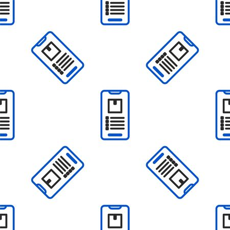 Line Mobile smart phone with app delivery tracking icon isolated seamless pattern on white background. Parcel tracking. Colorful outline concept. Vector.