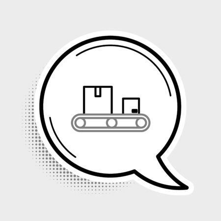 Line Conveyor belt with cardboard box icon isolated on grey background. Colorful outline concept. Vector. Ilustração