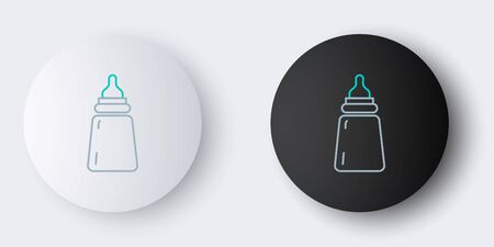 Line Baby bottle icon isolated on grey background. Feeding bottle icon. Milk bottle sign. Colorful outline concept. Vector.