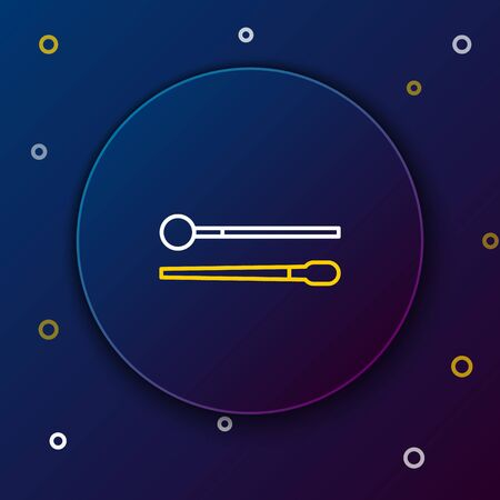Line Drum sticks icon isolated on blue background. Musical instrument. Colorful outline concept. Vector. Stock fotó - 150474702