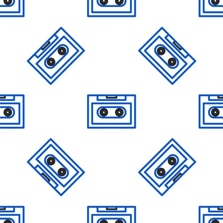 Line Retro audio cassette tape icon isolated seamless pattern on white background. Colorful outline concept. Vector. Ilustração