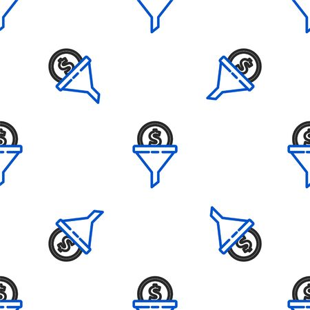 Line Lead management icon isolated seamless pattern on white background. Funnel with money. Target client business concept. Colorful outline concept. Vector.
