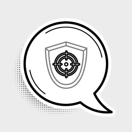 Line Target sport icon isolated on grey background. Clean target with numbers for shooting range or shooting. Colorful outline concept. Vector.  イラスト・ベクター素材