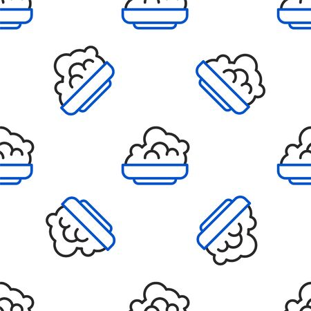 Line Shaving gel foam icon isolated seamless pattern on white background. Shaving cream. Colorful outline concept. Vector.