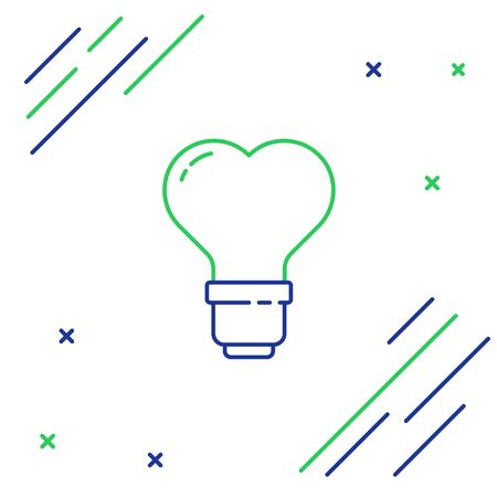 Line Heart shape in a light bulb icon isolated on white background. Love symbol. Valentine day symbol. Colorful outline concept. Vector. Illusztráció
