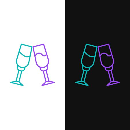Line Glass of champagne icon isolated on white and black background. Colorful outline concept. Vector.