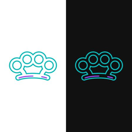 Line Brass knuckles icon isolated on white and black background. Colorful outline concept. Vector.
